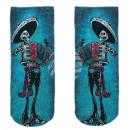 Motiv Socken blau weiß Mexikanisches Skelett