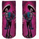 Motive socks pink white Mexican skeleton