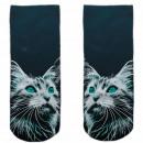 Motive socks blue white cat amazed