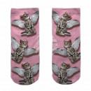 Großhandel Strümpfe & Socken: Motiv Socken Katze mit Flügeln rosa weiß