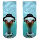 Motive socks blue white ostrich hat