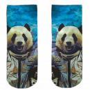 Motive skarpetki niebiesko białe Panda Astronaut