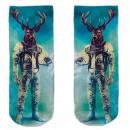 Großhandel Strümpfe & Socken: Motiv Socken blau weiß Reh Astronaut