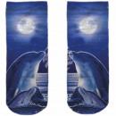 Motive socks blue white dolphins full moon