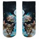 Motive socks black white cat whistle