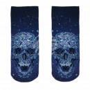 Großhandel Strümpfe & Socken: Motiv Socken Kristall Schädel blau weiß