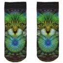 Motive socks multicolor cats abstract