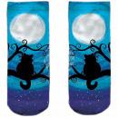 Motive socks blue white cat moon