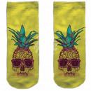 Motive socks yellow white pineapple skull