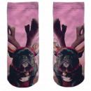 Motive socks pink pug antler