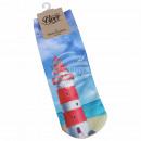 Motive socks lighthouse beach seagulls sea maritim