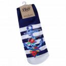 Motif socks anchor flowers maritime floral blue wh