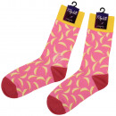 Motif socks extra long pink bananas