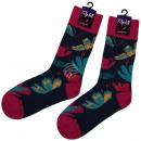 Motif sokken extra lang donker blauwe vlinders