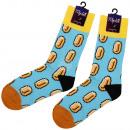 Motif socks extra long Oval pattern light blue