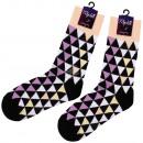 Großhandel Strümpfe & Socken: Motiv Socken extra lang Dreiecke schwarz