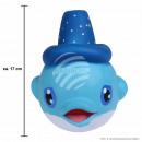 Squishy Squishies dolphin with hat blue about 17 c