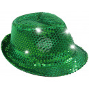 Green trilby hat  with sequins and white LED Lich