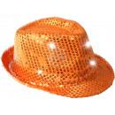 LED Trilby Hut orange Motiv: Club Style