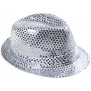 Trilby hat silver sequined