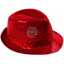 Trilby hat red sequined