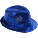 Trilby hat dark blue with sequins