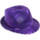 Trilby hat purple sequined