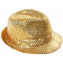 Trilby hat gold with sequins