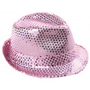 Trilby hat with sequins pink