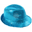 Trilby hat turquoise sequined