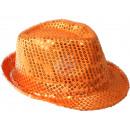 Trilby Hut orange mit Pailletten