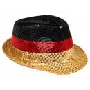 Trilby Hut schwarz, rot, gold ohne Sterne