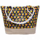 Shopper tote bag beach bag blue emoticon