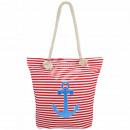 Shopper Shopping Bag Beach bag red white