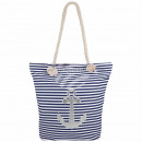 Shopper Shopping Bag Beach Bag blue white