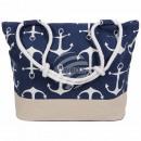 wholesale Shopping Bags: Shopper Shopping Bag Beach Bag blue Maritim