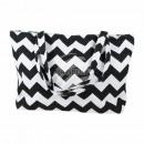 Großhandel sonstige Taschen: Strandtasche Weiss schwarz ZickZackMuster