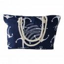 Großhandel sonstige Taschen: Strandtasche navy blau weiss Maritim ca. 48 cm