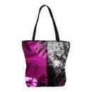 wholesale Shopping Bags: Carrying bag fuchsia silver sequin design