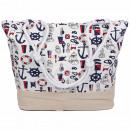 Shopper Einkaufstasche Strandtasche Weiss Maritime