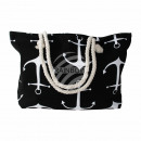 wholesale Miscellaneous Bags: Carrying bag black white maritime approx. 48 cm