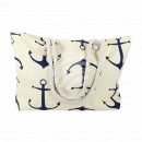 wholesale Miscellaneous Bags: Carrying bag cream blue maritime approx. 48 cm x 3