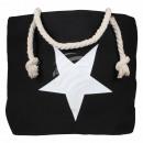 Shopper Einkaufstasche Strandtasche schwarz Stern