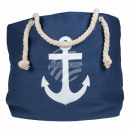 Shopper tote bag beach bag blue anchor