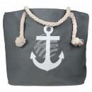 Shopper tote bag beach bag gray anchor