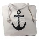 Shopper tote bag beach bag cream anchor