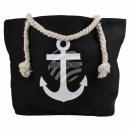Shopper shopping bag beach bag black anchor