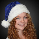 Christmas hat with fur edge and glitter