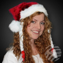 Christmas hats with bright red pigtails