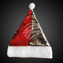 Santa hat sequins red silver with pompom
